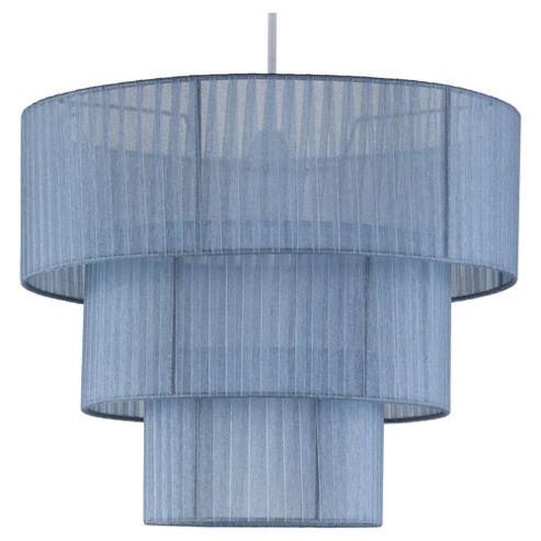 Tesco Lighting Isabella 3 Tier Ribbon Drum Pendant Silver