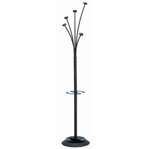 Festy 5 Hook Coat Stand With Umbrella Tray, Black