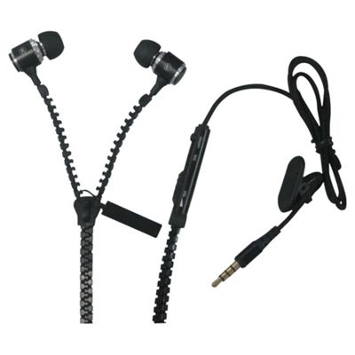 iCandy Zippa Earphones With Microphone Black