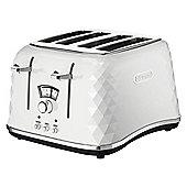DeLonghi CTJ4003.W Brillante Designer 4 Slice Toaster- White