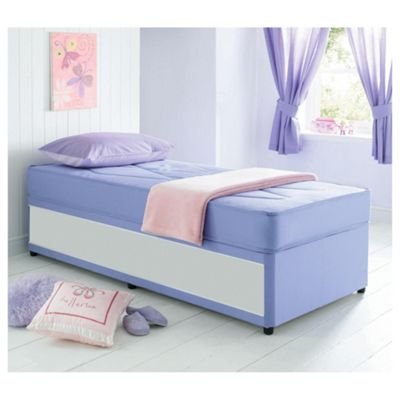 Airsprung Essentials Single Divan Bed, Kids Single Waterproof Anti Dust, Lilac