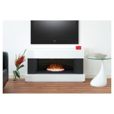 Adam Verona White & Grey Electric Fireplace Suite