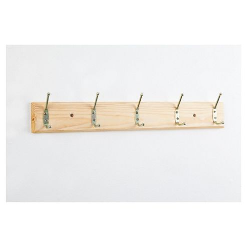 Wooden Wall Mounted With 5 Hooks