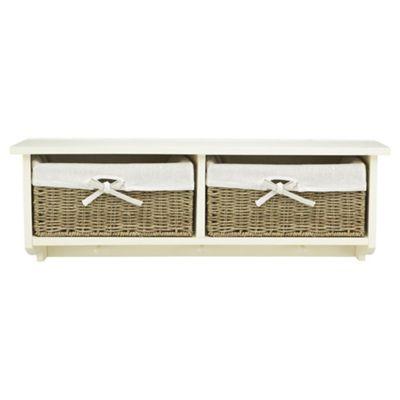 Tesco Storage Bench with Wicker Baskets, Cream