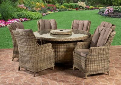 Royalcraft Verona Poly Resin Wicker 6 Seat Dining Set With Aluminium Frame