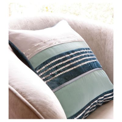Catherine Lansfield Sequin Bands Cushion Teal