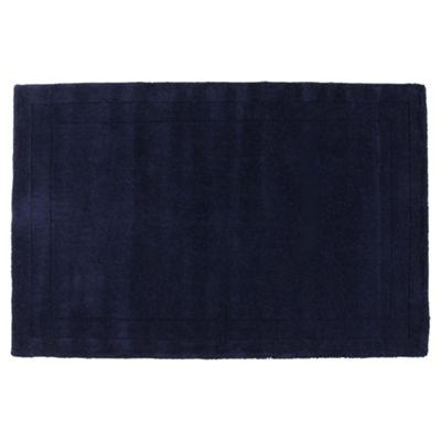 Tesco Rugs Plain Wool Rug Blue 160X230Cm
