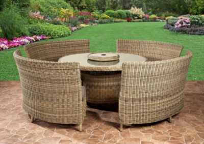 Royalcraft Mirage Fan Bench Set 10/12 Seat Set Natural Weave Effect