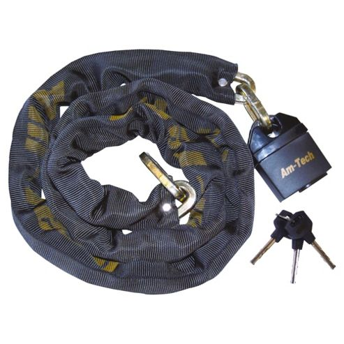 AM Tech 10mm x 180cm Square Link Nylon Sleeved Chain With 65mm Security Lock