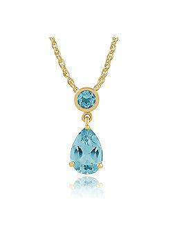 Gemondo 9ct Yellow Gold 1.80ct Blue Topaz Pendant on 45cm Chain