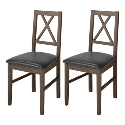Pembrook Pair Of Cross Back Chairs Dark Oak