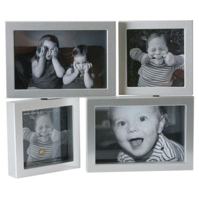 Present Time 4 Aperture Dynamic Photo Frame Plastic Silver
