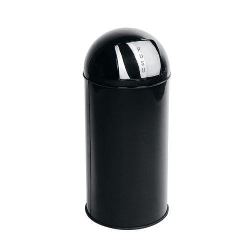 Tesco 30L Stainless Steel Black Push Top Open Bin
