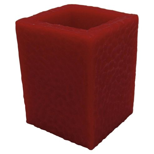 F&F Home Flame Red Square hollow pillar candle large 7.5*7.5*15