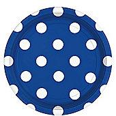 Royal Blue Polka Dot Plates - 23cm Paper Party Plates