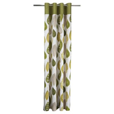 Tesco Watercolour Leaf Lined Eyelet Curtains W168xL229cm (66x90
