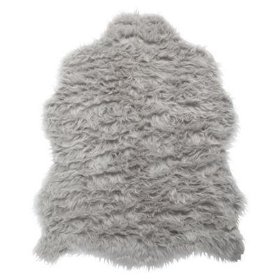 Tesco Rugs Faux Sheepskin Rug Single Grey