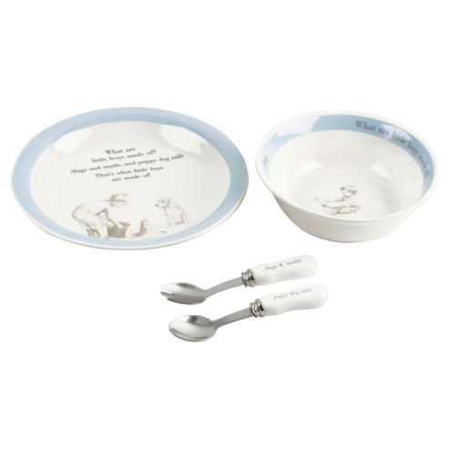 Ceramic What Are Little Boys Made Off-Set Bowl/Plate/Spoon/Fork