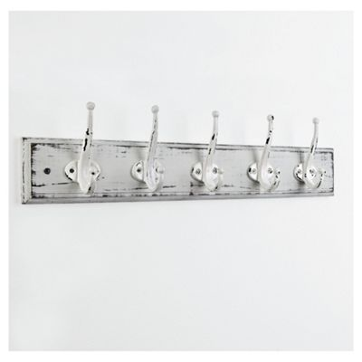 White Antique Finish Wall Mounted With 5 Hooks