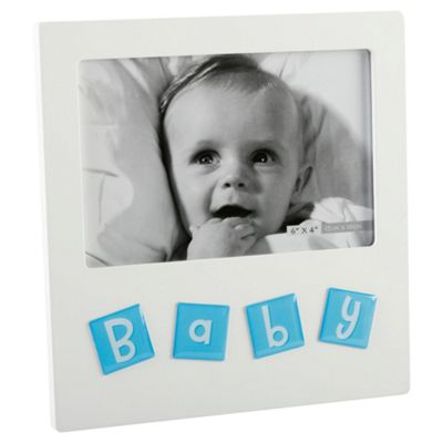 Mdf White Frame With Aluminiium Icons - Baby Blue 4X6