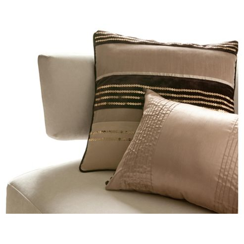 Catherine Lansfield Sequin Bands Cushion Natural