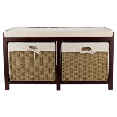 Tesco Storage Bench with Wicker Baskets, Walnut