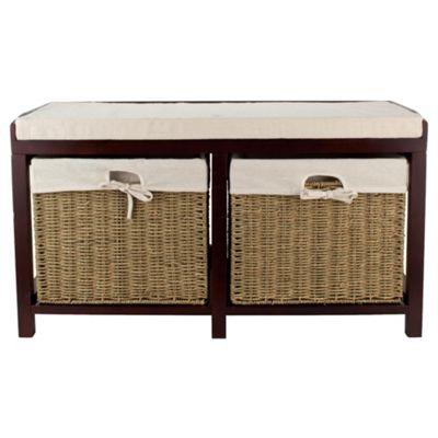 Tesco Storage Bench with Wicker Baskets, Walnut