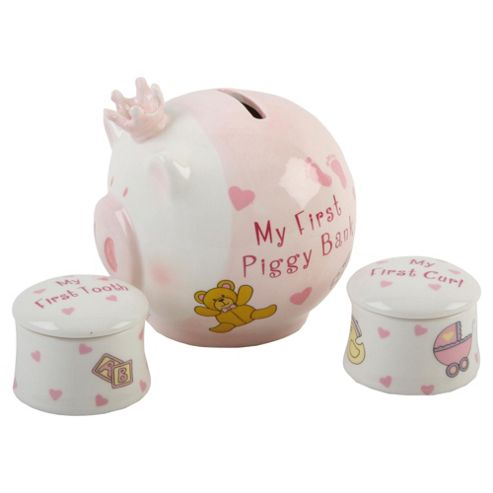 Ceramic My First Piggy Bank & My First Curl & Tooth Boxes Pink