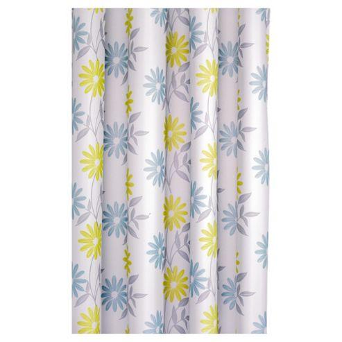 Croydex Scribble Flower Textile Shower Curtain