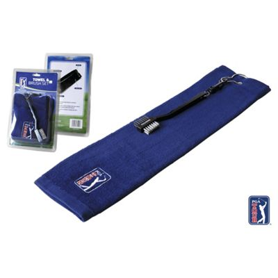 PGA Golf towel & brush Set