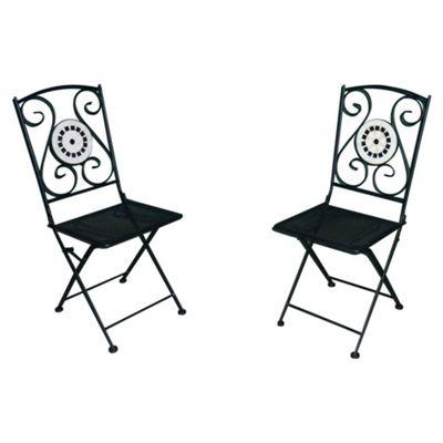 Palma Mosaic Folding Garden Bistro Chairs, 2 Pack