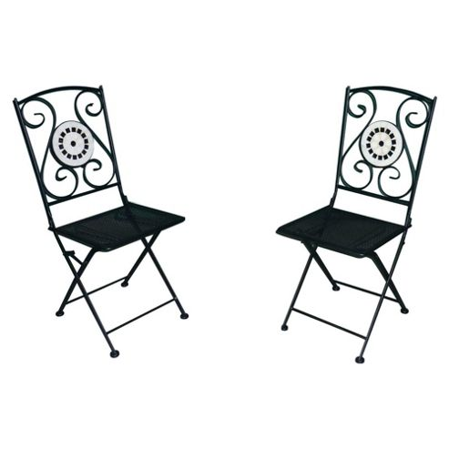 Palma Mosaic Folding Garden Bistro Chairs, 2 Pack