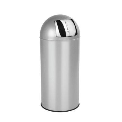 Tesco 30L Stainless Steel Silver Push Top Open Bin