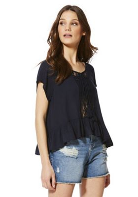 Only Lace Panel Peplum Top S Navy