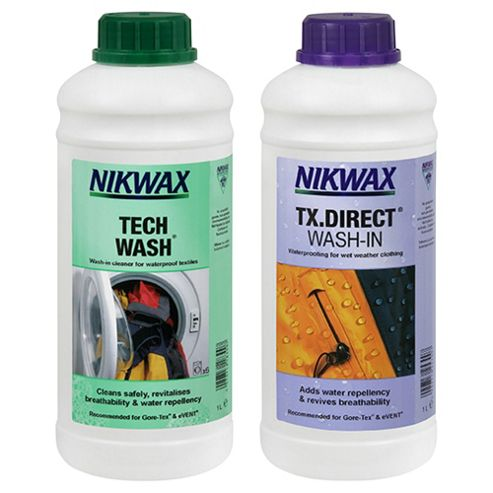 Nikwax Tech Wash & TX Direct Wash-In Waterproofing, 2 x 1 Litre