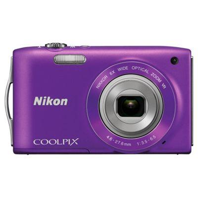 Nikon S3300 Digital Camera, Purple, 16MP, 6x Optical Zoom, 2.7 inch LCD Screen