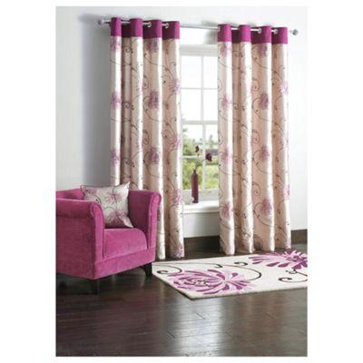 Tesco Chrysanthemum Lined Eyelet Curtains W168Xl137cm (66X54