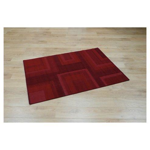 Tesco Rugs loop and pile squares rug red 120x170cm