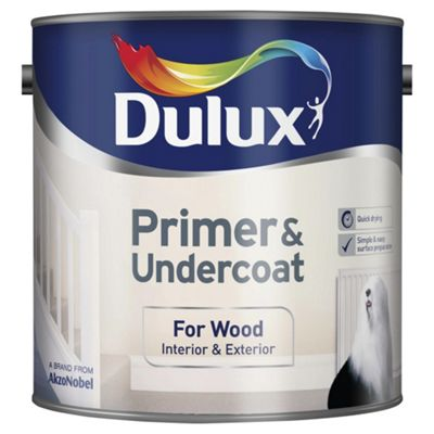 Dulux Quick Dry Wood Primer & Undercoat, Pure Brilliant White, 2.5L