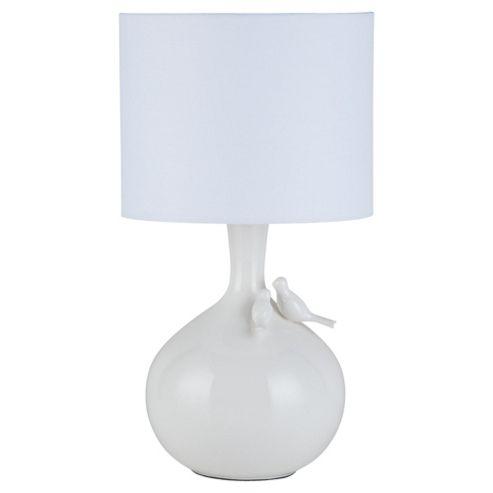 Tesco Lighting Lovebirds Ceramic Table Lamp, Cream