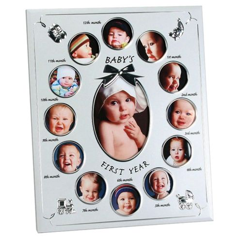 Two Tone Aluminium Photo Frame - Baby's First Year