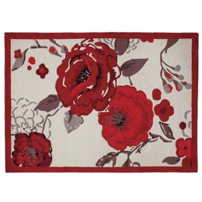 Tesco Rugs Jasmine Blossom Rug Red 120X170Cm