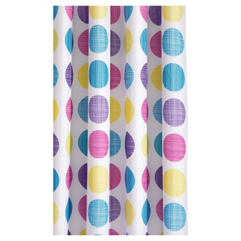 Croydex Textured Dots Textiles  Shower Curtain