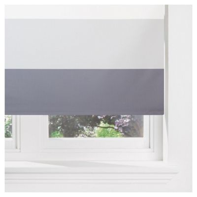 Sunflex Horizontal Stripe Blackout Roller Blind 120cm Charcoal
