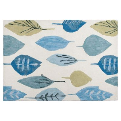 Tesco Rugs Watercolour Leaf Rug Soft Teal 150X240Cm