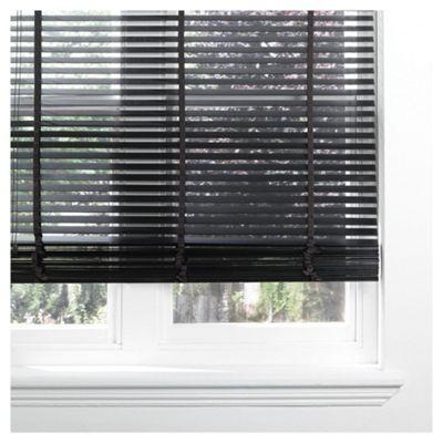 Sunflex Wood Venetian Blind W120 x Drop 210cm, 35mm Slats, Black