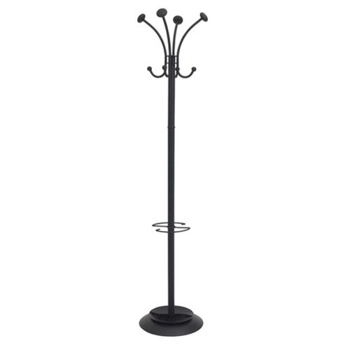 8 Hook Metal Coat Stand with Bag Hooks, Black
