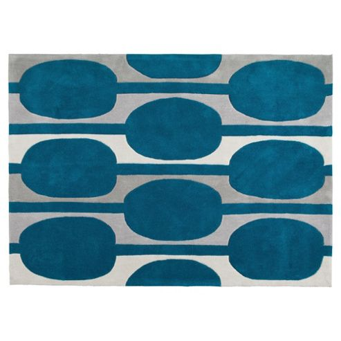 Tesco Rugs Retro Rug Teal 120X170Cm