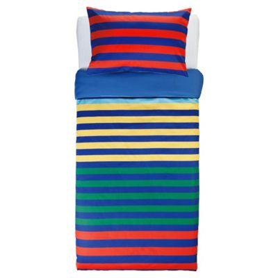 Tesco Kids Rugby Stripe Single Duvet Set