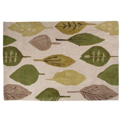 Tesco Rugs Watercolour Leaf Rug Green 120X170Cm